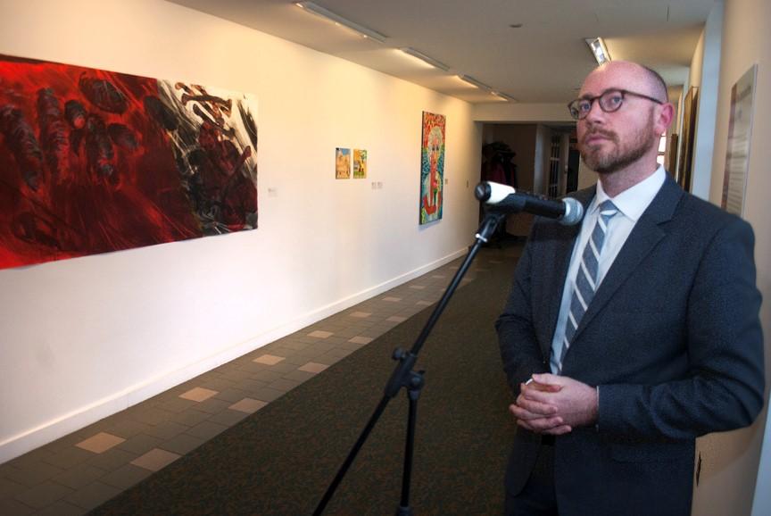 Jon Seals at the exhibit opening