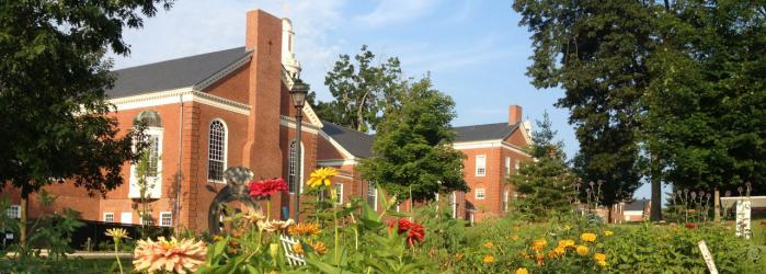 School seen from campus farm.
