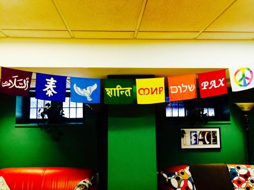 Multi-Denominational flags displayed at the Chaplain's Office