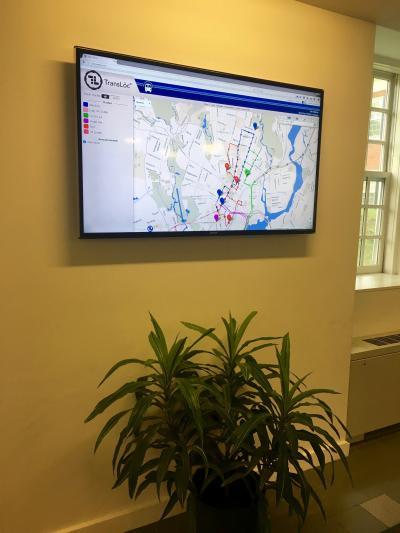 Digital map display in the Divinity School