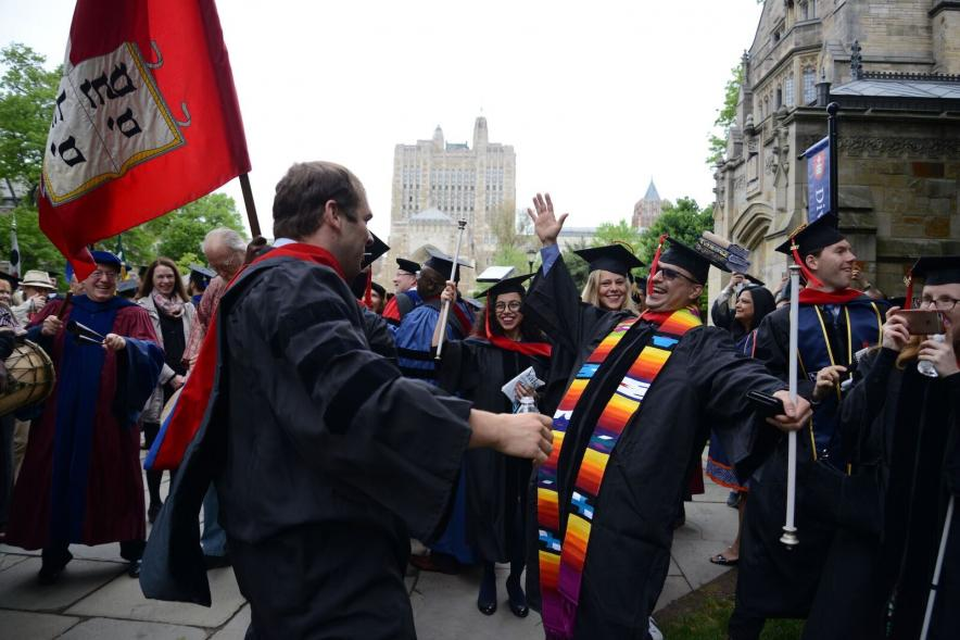 Students arrive at the Commencement ceremony