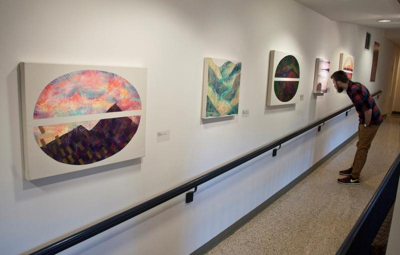 YDS corridor showing works by Lily Kuonen