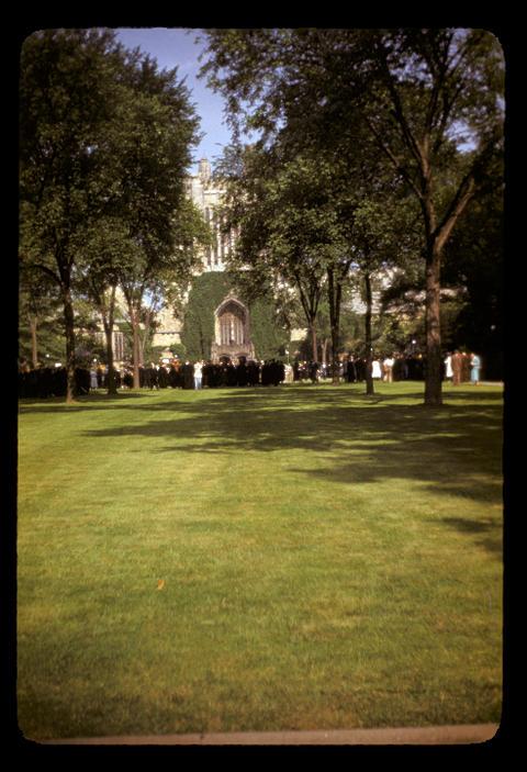 Line up for Yale University graduation - June 1952
