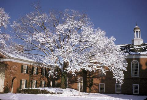 YDS snow on campus - 1949